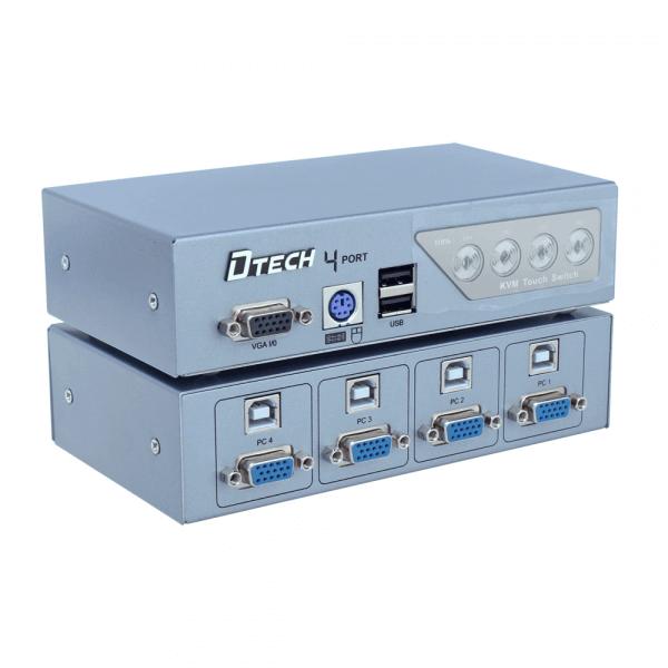 KVM سوئیچ 4 پورت PS2وUSB دی تک مدل DTECH DT-8041