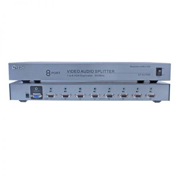 اسپلیتر VGA AUDIO هشت پورت 500 مگاهرتز Dtech DT-AU7508