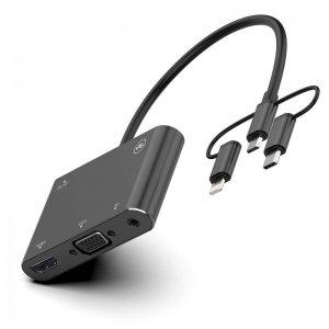 تبدیل لایتنینگ میکرو یو اس بی تایپ سی اونتن به onten OTN-7585B HDMI/VGA/AV