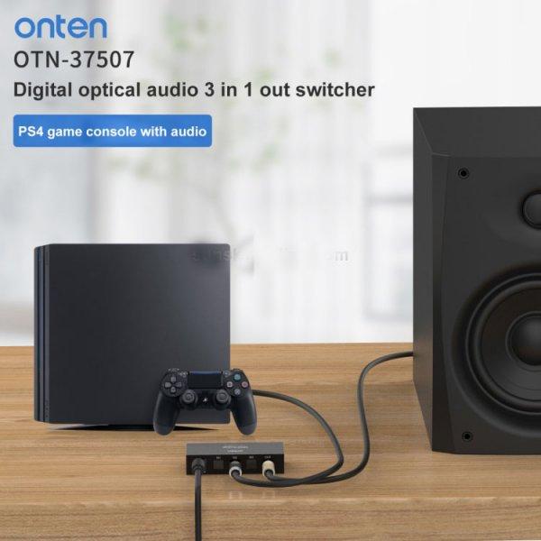 سوئیچ صدا 3 به 1 اونتن پاوردار مدل Onten 37507 Digital Optical Audio 3 In 1 Out Switcher
